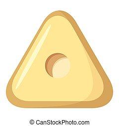 Square button icon, cartoon style