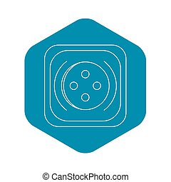 Square button icon, outline style