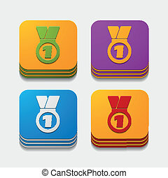 square button: medal