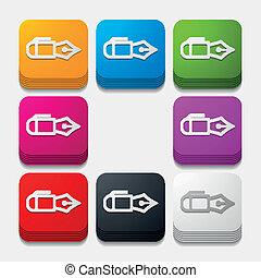 square button: pen