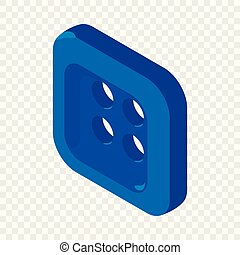 Square button shirt icon, isometric 3d style