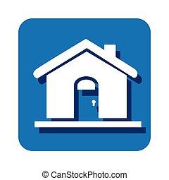 square button silhouette house icon design