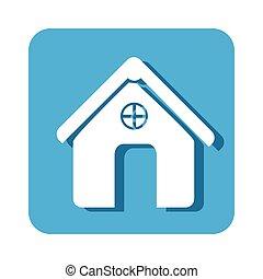 square button simple facade house icon design