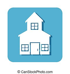 square button two floors house icon design