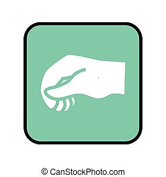 square button with closed hand