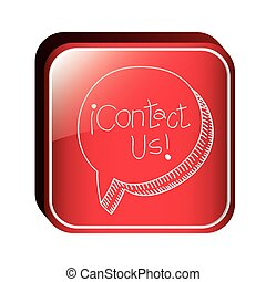 square button with dialogue balloon contact us