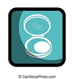 square button with face powder beauty product vector ...