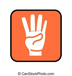 square button with hand in shape number four icon
