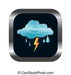square button with relief and rain storm weather icon