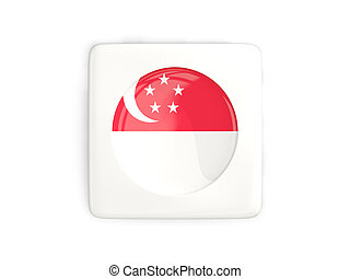 Square button with round flag of singapore