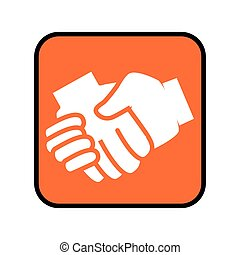 square button with shake hands icon