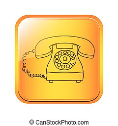 square button with silhouette antique phone icon