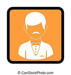 square button with silhouette elegant man