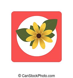 square button with yellow flower