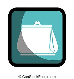 square button woman purse icon design