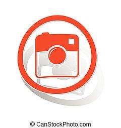 Square camera sign sticker, orange