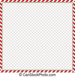 square candy cane frame with red and white striped lollipop pattern on transparent background.