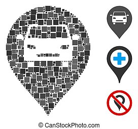 Square Car Map Marker Icon Vector Mosaic