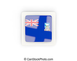 Square carbon icon with flag of falkland islands