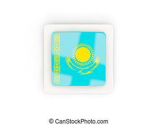 Square carbon icon with flag of kazakhstan