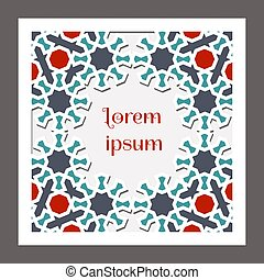 Square card design for invitation, celebration, save the date, wedding performed in arabic geometric tile. Cut out paper. Colofrul vector template.