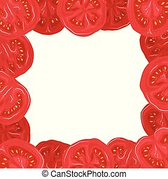 Square card with borders of tomatoes in a cut and place for text