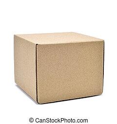 square cardboard box - a square brown cardboard box on a...