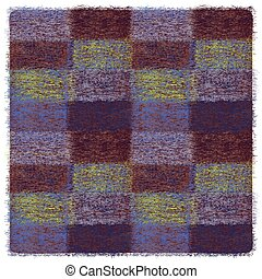Square checkered plaid with grunge weave elements in blue, brown, yellow colors
