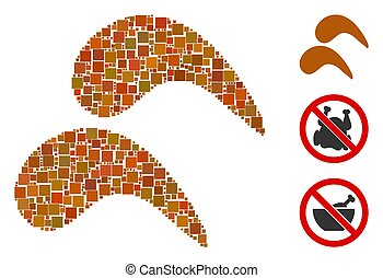 Square Chicken Wings Icon Vector Collage - Collage Chicken ...