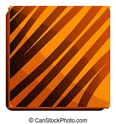 Square choco biscuit icon, cartoon style