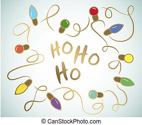Square Christmas card garland with Christmas lights, ...