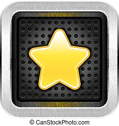 Square chrome metal button with yellow star icon