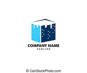 Square city logo vector icon