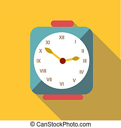Square clock icon, flat style