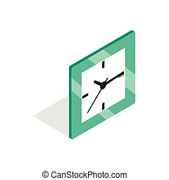 Square clock icon, isometric 3d style