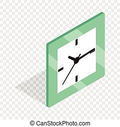 Square clock isometric icon