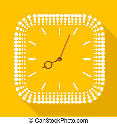 Square clock without numbers icon, flat style - Square clock...