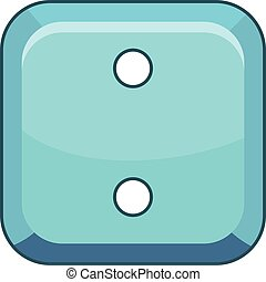 Square cloth button icon, cartoon style