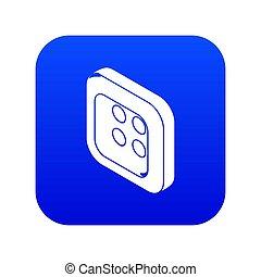 Square clothes button icon blue