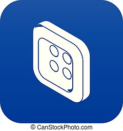 Square clothes button icon blue vector