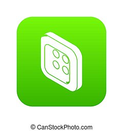 Square clothes button icon green