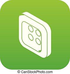 Square clothes button icon green vector