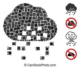 Square Cloud Dissipation Icon Vector Mosaic - Mosaic Cloud ...