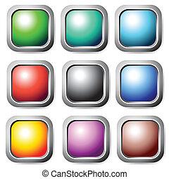 Square color buttons set.