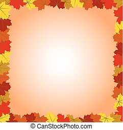 Square Colorful Autumn Maple Leaves Frame