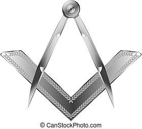 Square & Compass - Silver Square & Compass