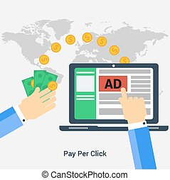Square concept of pay per click - Vector square banner Pay ...