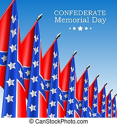 Square Confederate Memorial Day vector banner or social network post template with realistic Confederate flags on blue sky background