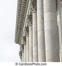 Square Corinthian stone columns at Utah State Capital Building facade in Salt Lake City
