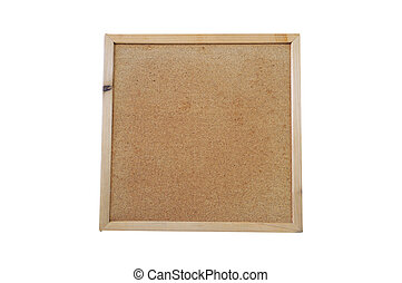 Square cork-board on white background